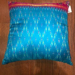NWT Urban Outfitters Blue Silk Pillow